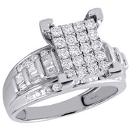 10K White Gold Round & Baguette Diamond Rectangle Cluster Engagement Ring 7/8 Ct