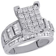 10K White Gold Baguette Diamond Rectangle Designer Engagement Ring 1.50 Ct.