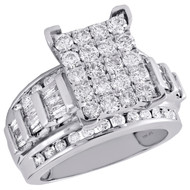 10K White Gold Round & Baguette Diamond Rectangle Cluster Engagement Ring 2 Ct.