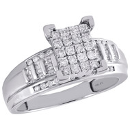 10K White Gold Round & Baguette Diamond Rectangle Cluster Engagement Ring 1/2 Ct