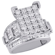 10K White Gold Round & Baguette Diamond Rectangle Cluster Engagement Ring 3 Ct.