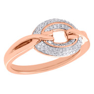 10K Rose Gold Diamond Circle Ring Ladies Right Hand Twisted Band 0.20 CT.