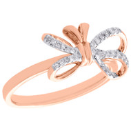 10K Rose Gold Diamond Bow Ring Ladies Statement Right Hand Band 0.10 CT.