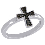 .925 Sterling Silver Round Black Diamond Cross Right Hand Cocktail Ring 1/10 Ct.
