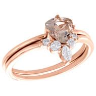 10K Rose Gold Diamond & Trillion Morganite Engagement Ring Bridal Set 0.88 TCW