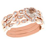 10K Rose Gold Diamond & Heart Morganite Engagement Ring Bridal Set 0.71 TCW