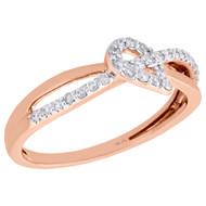 10K Rose Gold Diamond Criss Cross Intersect Teardrop Right Hand Ring 1/5 Ct.