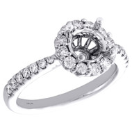 14K White Gold 5/8 CT Diamond Semi Mount Engagement Ring For 1CT Round Solitaire