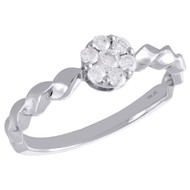 10K White Gold Diamond Flower Cluster w/ Braided Shank Right Hand Ring 1/4 Ct.