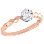 10K Rose Gold Diamond Flower Cluster w/ Braided Shank Right Hand Ring 1/4 Ct.