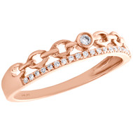 10K Rose Gold Bezel Set Diamond Chain Link Right Hand Cocktail Ring 1/12 CT.