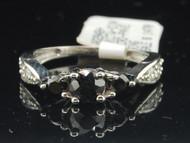 10k White Gold Round Cut Black Diamond Solitaire 3 Stone Engagement Ring 1.01 Ct