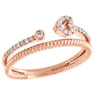 10K Rose Gold Diamond Bypass Heart Split Shank Stackable Cocktail Ring 1/6 Ct.