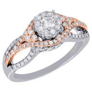 10K White Gold Genuine Round Cut Diamond Engagement Ring Split Shank Halo .55 Ct