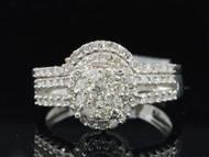 10K White Gold Diamond Bridal Set 0.78 CT Engagement Ring Curved Wedding Band