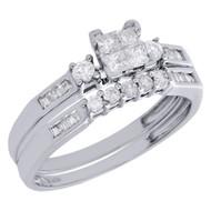 10K White Gold Princess Diamond Bridal Set Engagement Ring + Wedding Band 1/2 Ct
