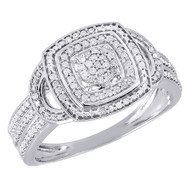 10K White Gold Diamond Ladies Square Promise Fashion Band Right Hand Ring .15 Ct