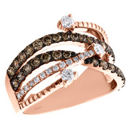 10K Rose Gold Brown Diamond Waved Intertwined Split Design Cocktail Ring 1 CT.
