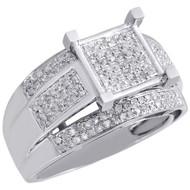 10K White Gold Ladies Genuine Diamond Wedding Engagement Ring Split Shank 1/2 Ct