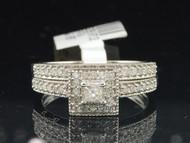 10K White Gold Princess Cut Diamond Solitaire Engagement Wedding Band Bridal Set