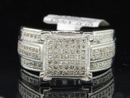 .925 Sterling Silver Round Cut Diamond Pave Right Hand Cocktail Ring 1/3 Ct.