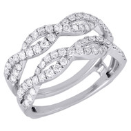 14K White Gold Diamond Solitaire Engagement Ring Infinity Enhancer  0.75 Ct.