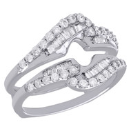 14K White Gold Baguette Diamond Enhancer Wrap Jacket Swirl Wedding Ring 0.75 Ct.