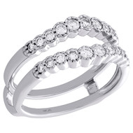 14K White Gold Bezel Set Daimond Contour Enhancer Jacket Wedding Ring 0.50 Ct.