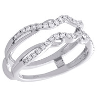 14K White Gold Diamond Contour Waved Enhancer Wrap Jacket Wedding Ring 0.33 Ct.