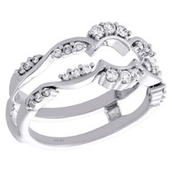 14K White Gold Diamond Contour Enhancer Wrap Jacket Scatter Design Ring 0.33 Ct.