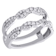 14K White Gold Diamond Braided Enhancer Wrap Jacket Twised Wedding Ring 0.50 Ct.