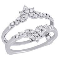 14K White Gold Diamond Solitaire Engagement Wrap Floral Enhancer Ring 0.33 Ct.