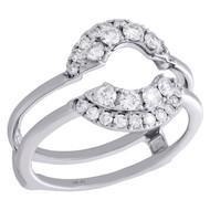 14K White Gold Diamond Half Round Enhancer Wrap Jacket 2 Row Wedding Ring 1/2 Ct
