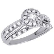 10K White Gold Bridal Set Round Cut Diamond Wedding Engagement Ring 0.34 Ct.