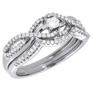 10K White Gold Princess Cut Infinity Bridal Set Diamond Wedding Ring 0.33 CT.