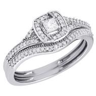 10K White Gold Princess Cut Solitaire Bridal Set Diamond Wedding Ring 0.32 Ct.