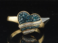 Blue Diamond Heart Fashion Band Yellow Gold Love Right Hand Cocktail Ring 1/3 Ct