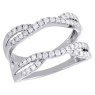 14K White Gold Diamond Solitaire Engagement Wrap Contour Enhancer Ring 0.50 Ct.