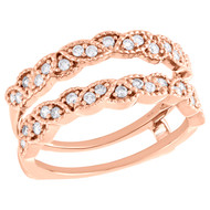 14K Rose Gold Diamond Solitaire Engagement Wrap Braided Enhancer Ring 0.33 Ct.