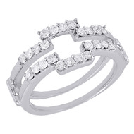 14K White Gold Diamond Solitaire Engagement Ring Enhancer Wrap Round Cut 0.50 Ct