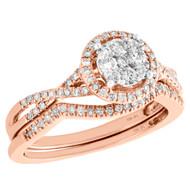 10K Rose Gold Diamond Bridal Set Halo Engagement Ring + Wedding Band 0.50 CT.