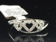 Diamond Heart Ring 10K White Gold Cocktail Round Cut Fashion Band 0.18 Ct.