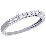 10K White Gold Round & Baguette Diamond Wedding Band 5 Stone Womens Ring 1/6 CT.