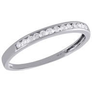 10K White Gold Real Round Diamond Wedding Band Womens Channel Set Ring 1/8 CT.
