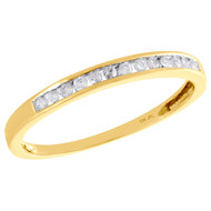 10K Yellow Gold Real Round Diamond Wedding Band Womens Channel Set Ring 1/8 CT.