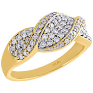 10K Yellow Gold Diamond Statement Wedding Band Swivel Design Ring 8.5mm | 1/2 CT