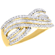 10K Yellow Gold Baguette & Round Diamond Crossover Band Right Hand Ring 1/2 Ct
