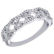 10K White Gold Diamond Criss Cross Anniversary Band Statement Ring 0.38 Ct.