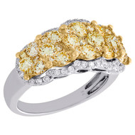 14K White Gold Natural Yellow Diamond Cluster Anniversary Ring Wedding Band 2 Ct