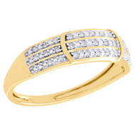 10K Yellow Gold Genuine Round Diamond Engagement Ring Dome Wedding Band 1/10 CT.